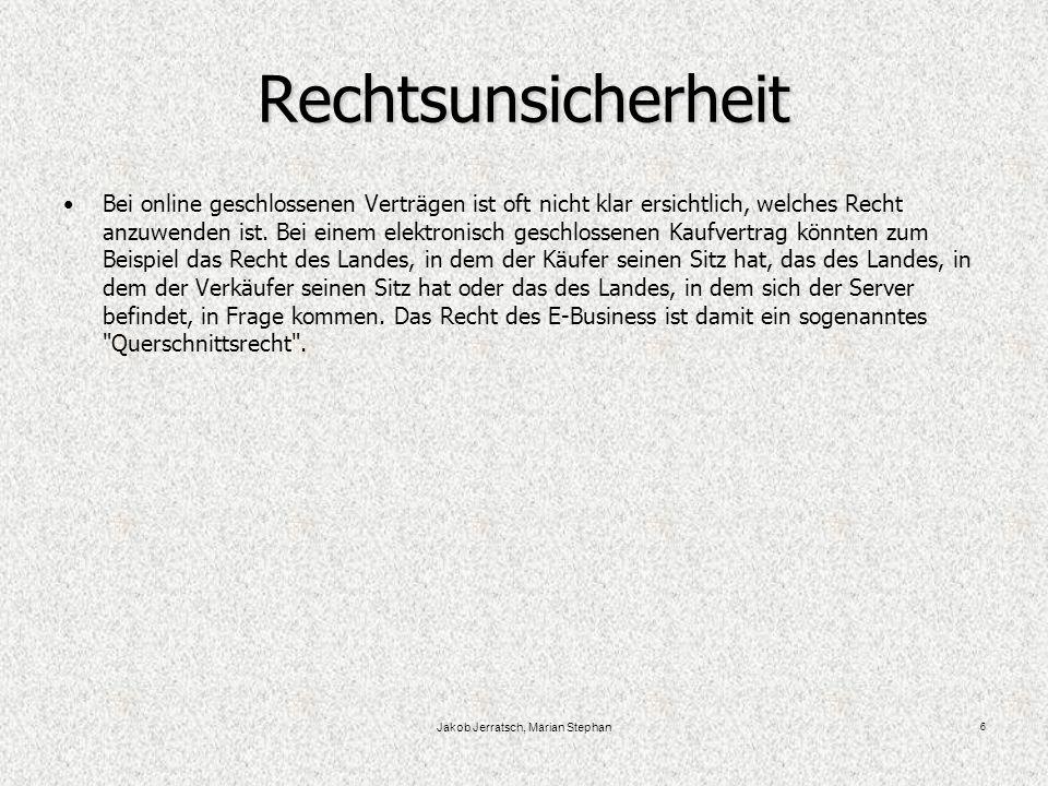 Jakob Jerratsch, Marian Stephan 7 Ein Beispiel für E-Business