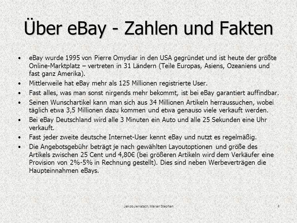 Jakob Jerratsch, Marian Stephan 8 Über eBay - Zahlen und Fakten eBay wurde 1995 von Pierre Omydiar in den USA gegründet und ist heute der größte Online-Marktplatz – vertreten in 31 Ländern (Teile Europas, Asiens, Ozeaniens und fast ganz Amerika).