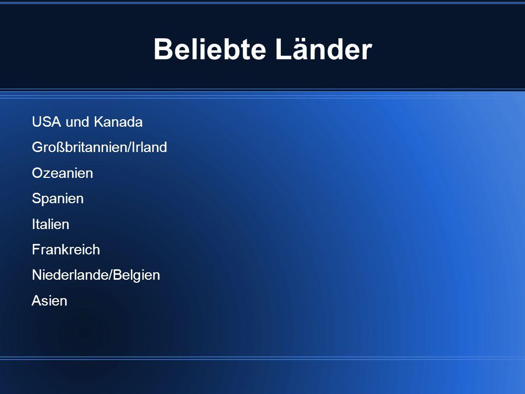 Beliebte Länder USA und Kanada Großbritannien/Irland Ozeanien Spanien Italien Frankreich Niederlande/Belgien Asien