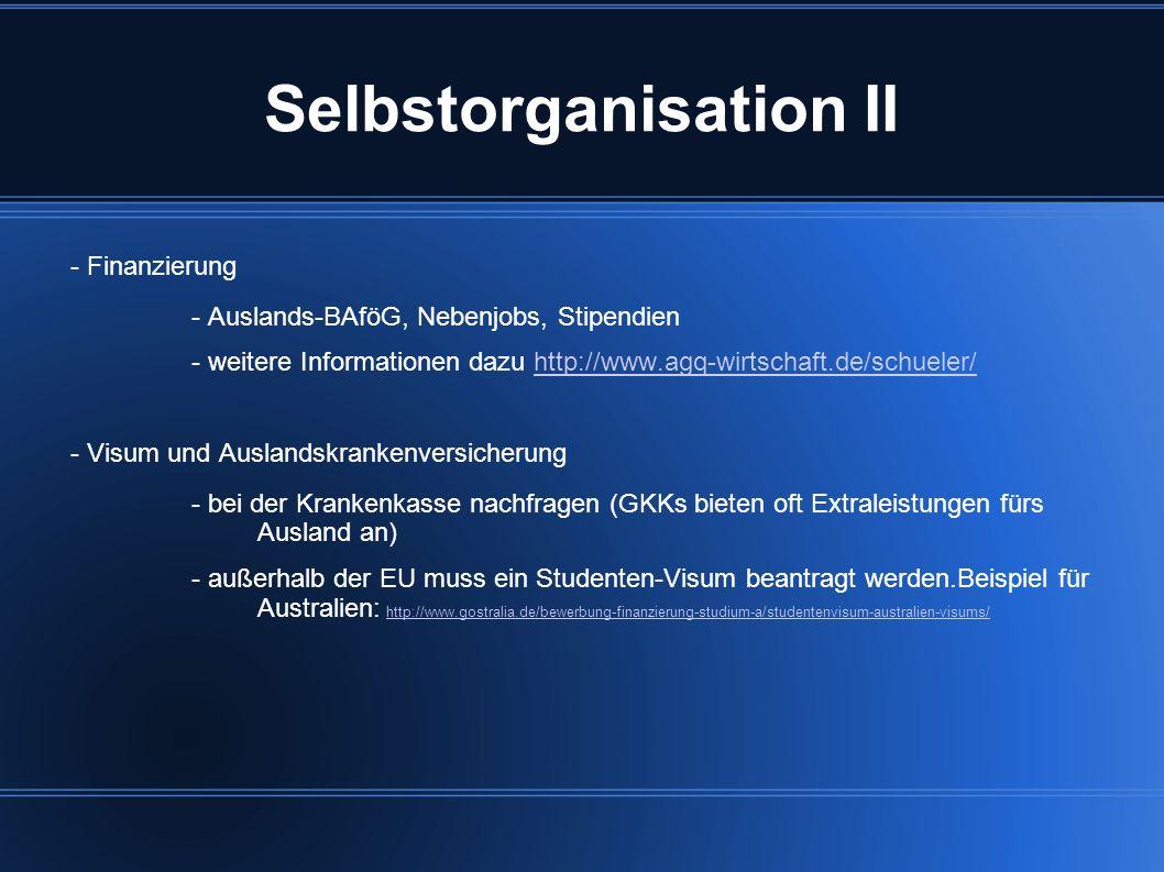 Selbstorganisation II - Finanzierung - Auslands-BAföG, Nebenjobs, Stipendien - weitere Informationen dazu http://www.agq-wirtschaft.de/schueler/http:/