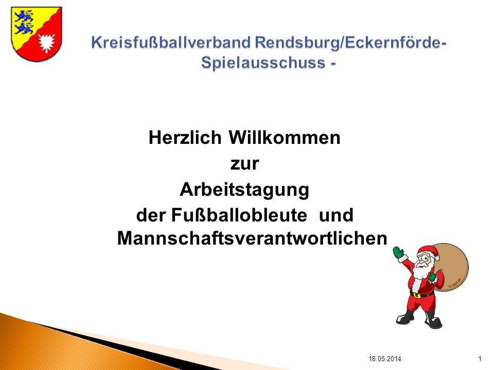 Herzlich Willkommen zur Arbeitstagung der Fußballobleute und Mannschaftsverantwortlichen 18.05.20141