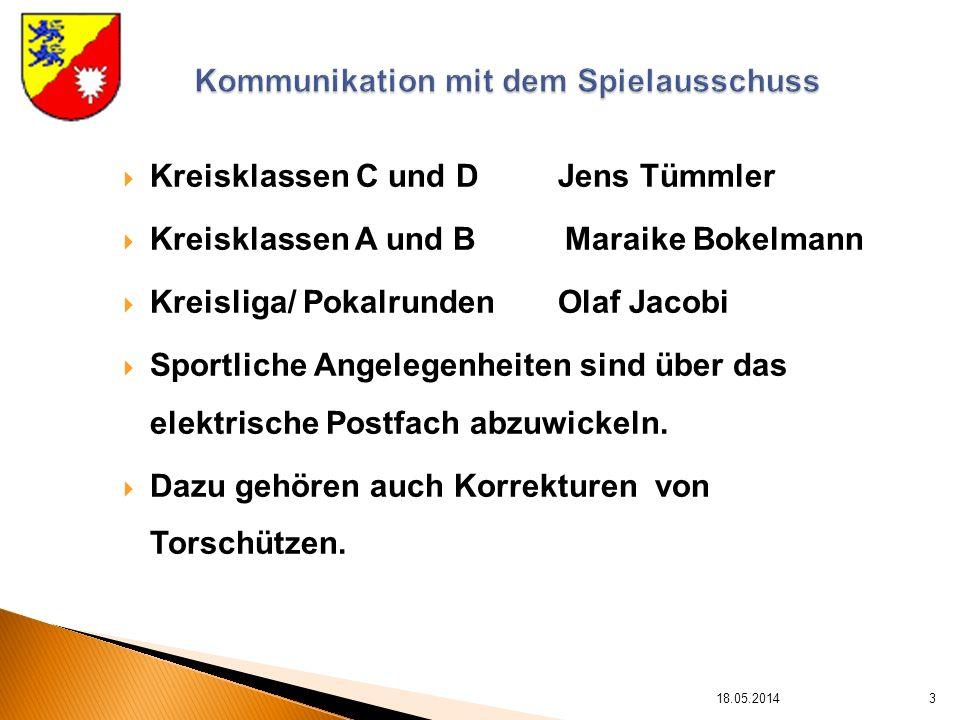 Kreisklassen C und D Jens Tümmler Kreisklassen A und B Maraike Bokelmann Kreisliga/ Pokalrunden Olaf Jacobi Sportliche Angelegenheiten sind über das elektrische Postfach abzuwickeln.