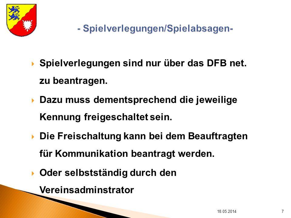 Spielverlegungen sind nur über das DFB net. zu beantragen.
