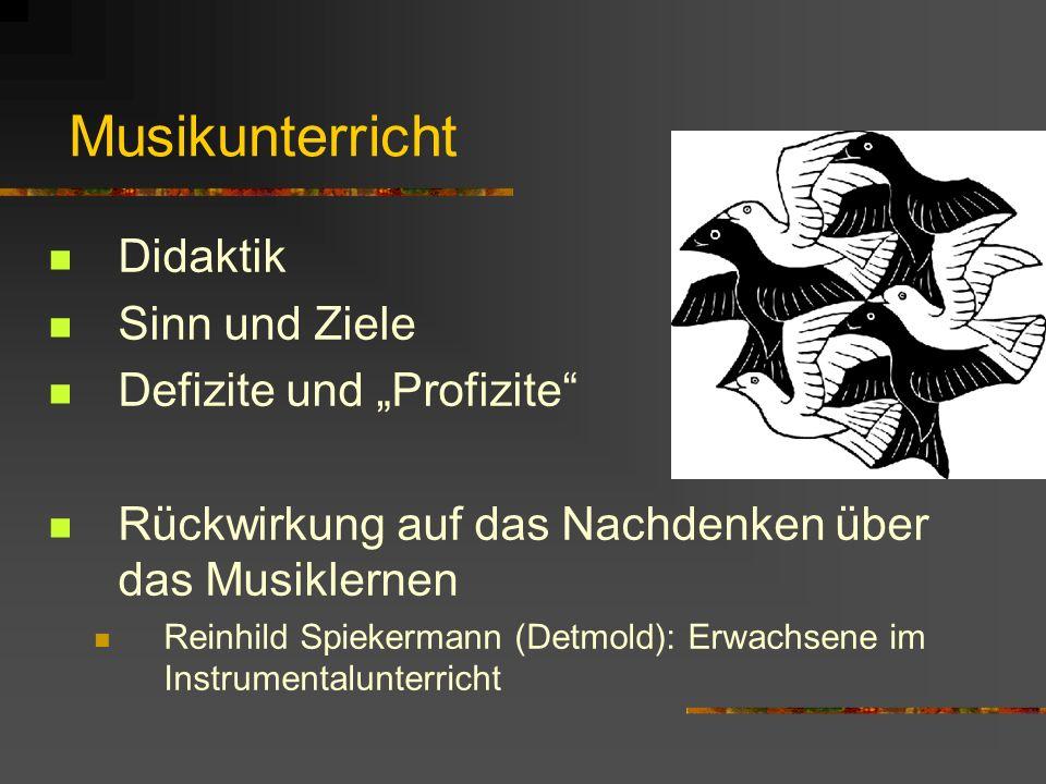 Musikunterricht Didaktik Sinn und Ziele Defizite und Profizite Rückwirkung auf das Nachdenken über das Musiklernen Reinhild Spiekermann (Detmold): Erw