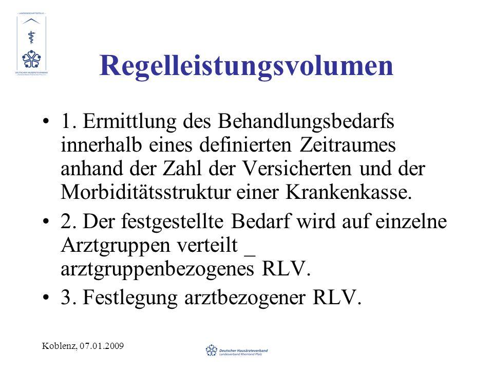 Koblenz, 07.01.2009 Regelleistungsvolumen 1. Ermittlung des Behandlungsbedarfs innerhalb eines definierten Zeitraumes anhand der Zahl der Versicherten