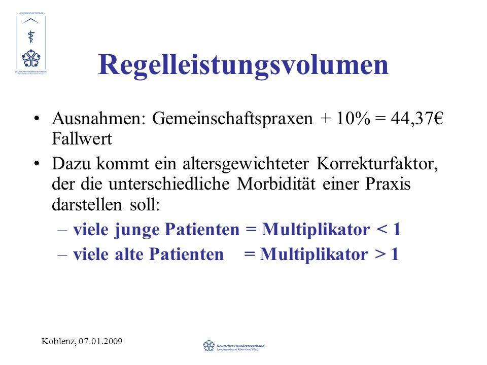Koblenz, 07.01.2009 Regelleistungsvolumen Ausnahmen: Gemeinschaftspraxen + 10% = 44,37 Fallwert Dazu kommt ein altersgewichteter Korrekturfaktor, der die unterschiedliche Morbidität einer Praxis darstellen soll: –viele junge Patienten = Multiplikator < 1 –viele alte Patienten = Multiplikator > 1
