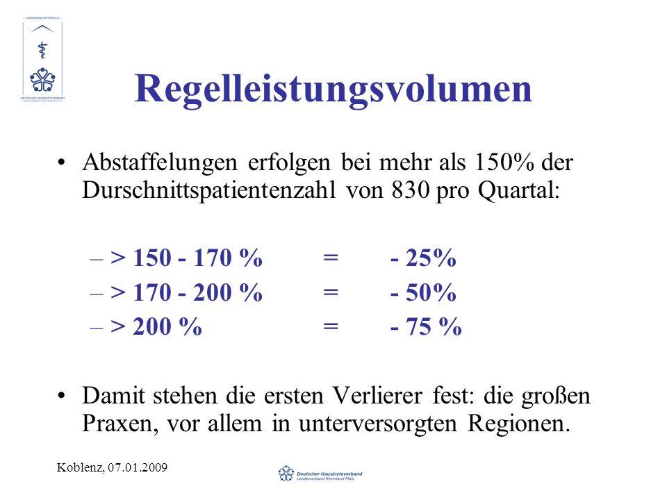 Koblenz, 07.01.2009 Regelleistungsvolumen Abstaffelungen erfolgen bei mehr als 150% der Durschnittspatientenzahl von 830 pro Quartal: –> 150 - 170 %=- 25% –> 170 - 200 %=- 50% –> 200 %=- 75 % Damit stehen die ersten Verlierer fest: die großen Praxen, vor allem in unterversorgten Regionen.