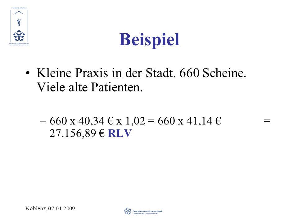 Koblenz, 07.01.2009 Beispiel Kleine Praxis in der Stadt. 660 Scheine. Viele alte Patienten. –660 x 40,34 x 1,02 = 660 x 41,14 = 27.156,89 RLV