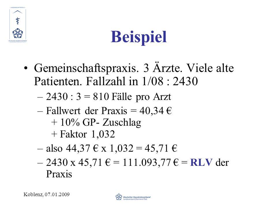 Koblenz, 07.01.2009 Beispiel Gemeinschaftspraxis. 3 Ärzte. Viele alte Patienten. Fallzahl in 1/08 : 2430 –2430 : 3 = 810 Fälle pro Arzt –Fallwert der