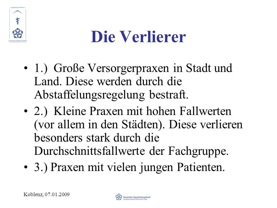 Koblenz, 07.01.2009 Die Verlierer 1.) Große Versorgerpraxen in Stadt und Land.