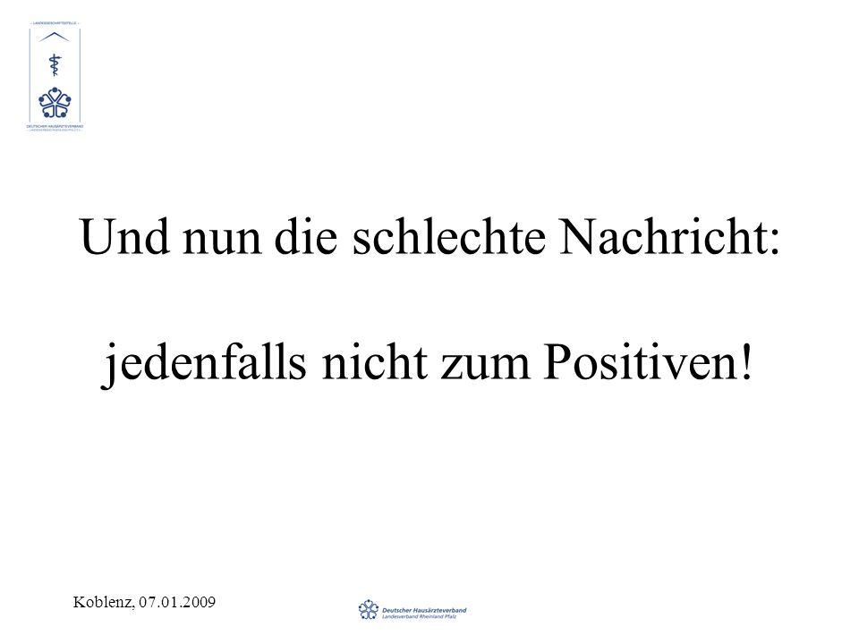 Koblenz, 07.01.2009 Beispiel Praxis auf dem Land.Fallzahl in 1/08: 1550 Scheine.