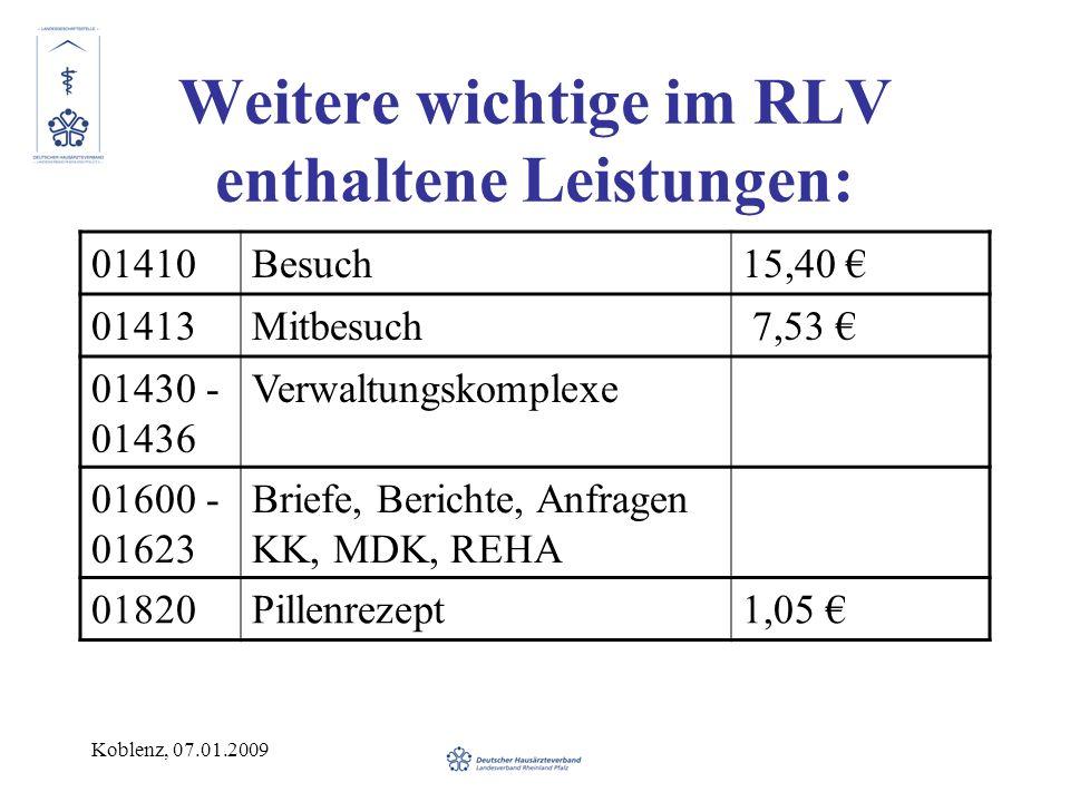 Koblenz, 07.01.2009 Weitere wichtige im RLV enthaltene Leistungen: 01410Besuch15,40 01413Mitbesuch 7,53 01430 - 01436 Verwaltungskomplexe 01600 - 01623 Briefe, Berichte, Anfragen KK, MDK, REHA 01820Pillenrezept1,05