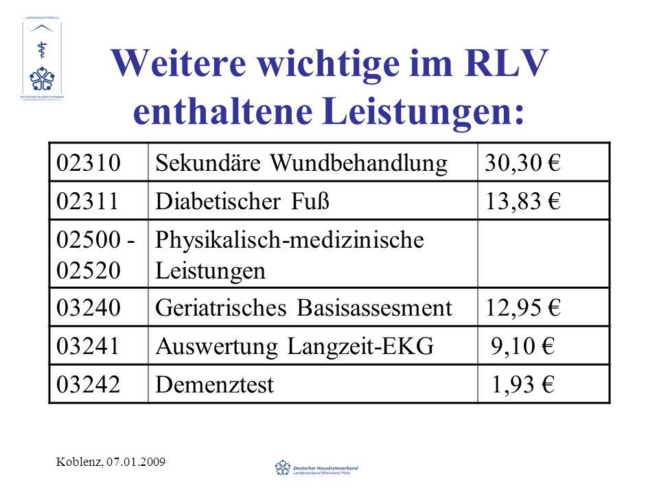 Koblenz, 07.01.2009 Weitere wichtige im RLV enthaltene Leistungen: 02310Sekundäre Wundbehandlung30,30 02311Diabetischer Fuß13,83 02500 - 02520 Physikalisch-medizinische Leistungen 03240Geriatrisches Basisassesment12,95 03241Auswertung Langzeit-EKG 9,10 03242Demenztest 1,93