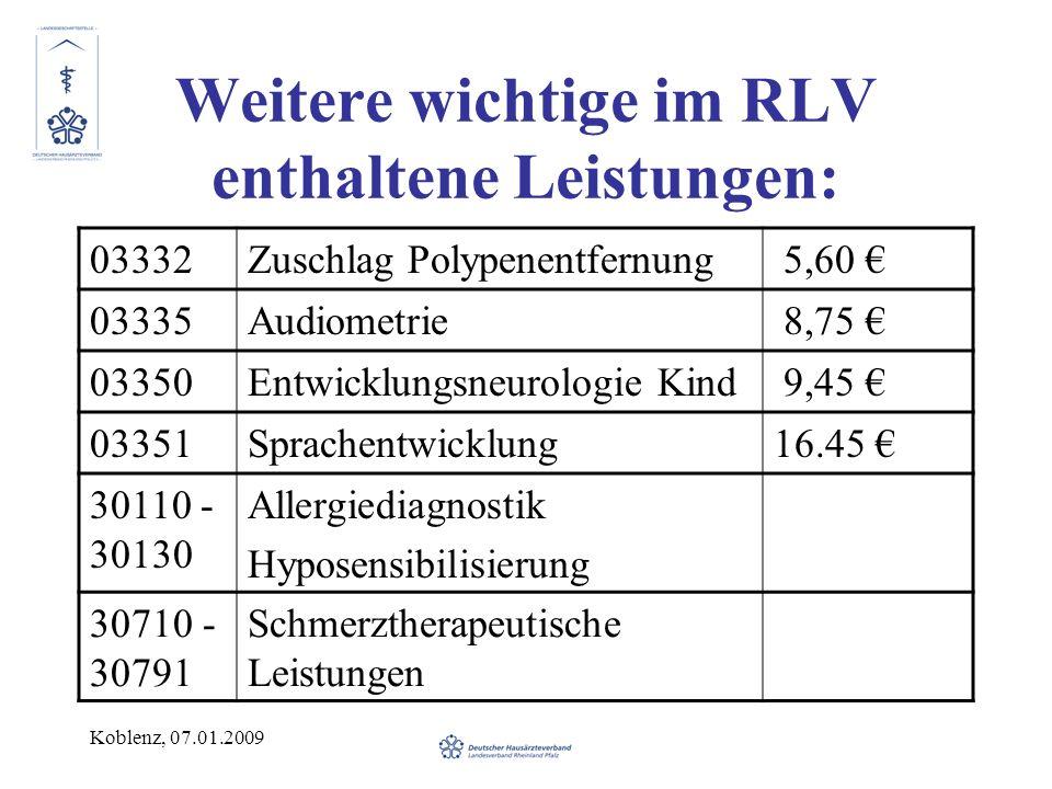 Koblenz, 07.01.2009 Weitere wichtige im RLV enthaltene Leistungen: 03332Zuschlag Polypenentfernung 5,60 03335Audiometrie 8,75 03350Entwicklungsneurologie Kind 9,45 03351Sprachentwicklung16.45 30110 - 30130 Allergiediagnostik Hyposensibilisierung 30710 - 30791 Schmerztherapeutische Leistungen