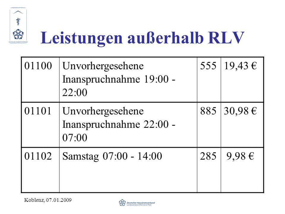 Koblenz, 07.01.2009 Leistungen außerhalb RLV 01100Unvorhergesehene Inanspruchnahme 19:00 - 22:00 55519,43 01101Unvorhergesehene Inanspruchnahme 22:00 - 07:00 88530,98 01102Samstag 07:00 - 14:00285 9,98