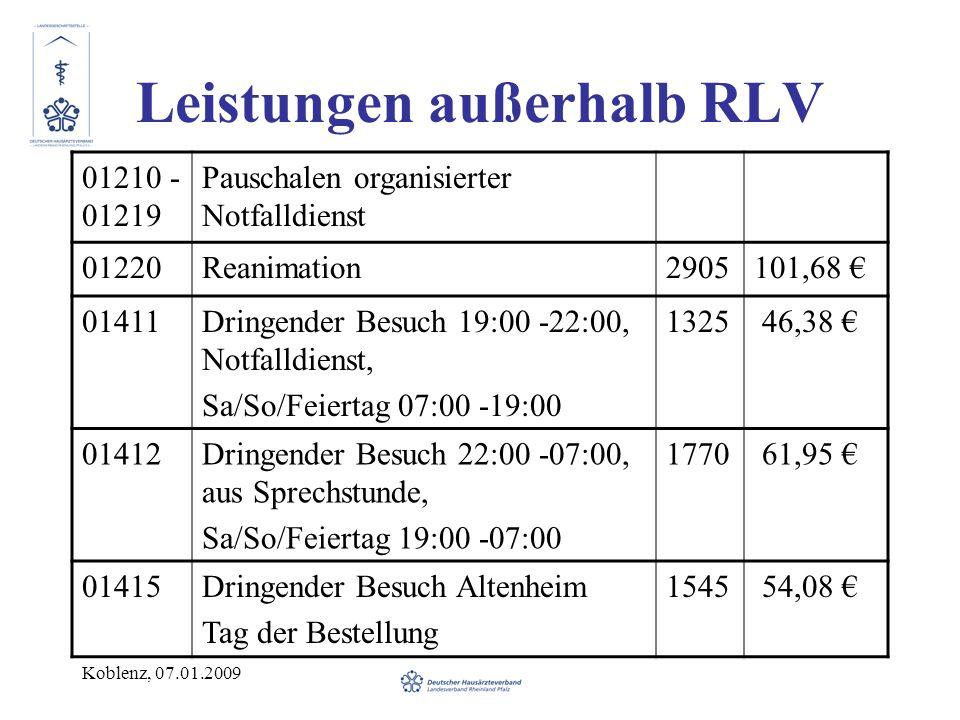 Koblenz, 07.01.2009 Leistungen außerhalb RLV 01210 - 01219 Pauschalen organisierter Notfalldienst 01220Reanimation2905101,68 01411Dringender Besuch 19