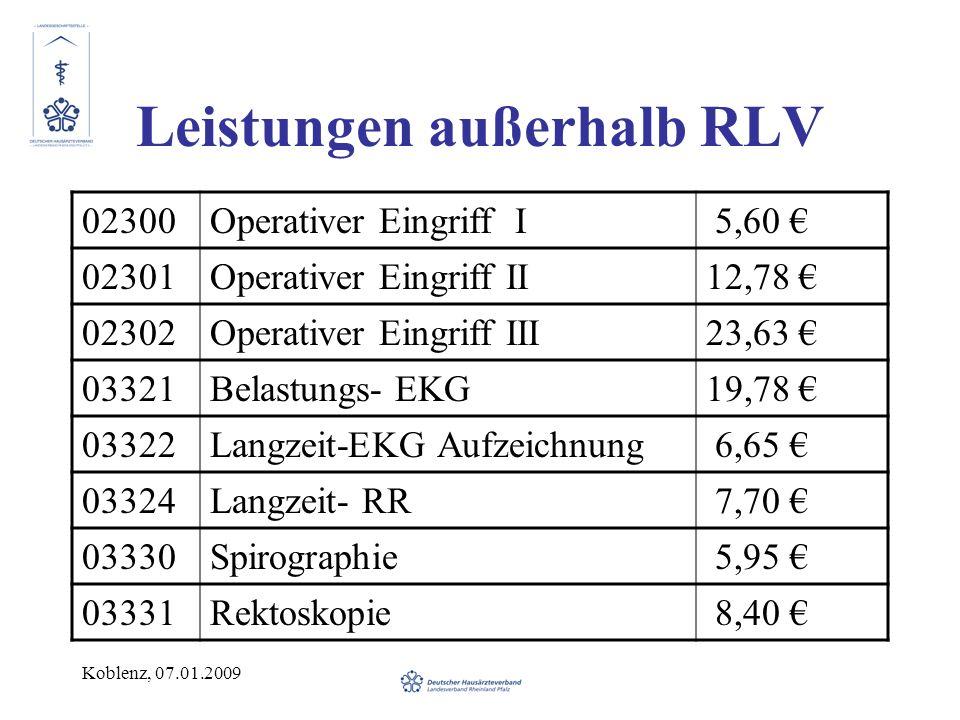 Koblenz, 07.01.2009 Leistungen außerhalb RLV 02300Operativer Eingriff I 5,60 02301Operativer Eingriff II12,78 02302Operativer Eingriff III23,63 03321Belastungs- EKG19,78 03322Langzeit-EKG Aufzeichnung 6,65 03324Langzeit- RR 7,70 03330Spirographie 5,95 03331Rektoskopie 8,40