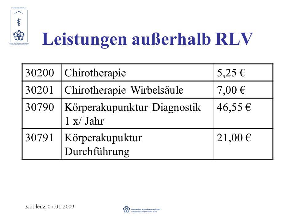 Koblenz, 07.01.2009 Leistungen außerhalb RLV 30200Chirotherapie5,25 30201Chirotherapie Wirbelsäule7,00 30790Körperakupunktur Diagnostik 1 x/ Jahr 46,5