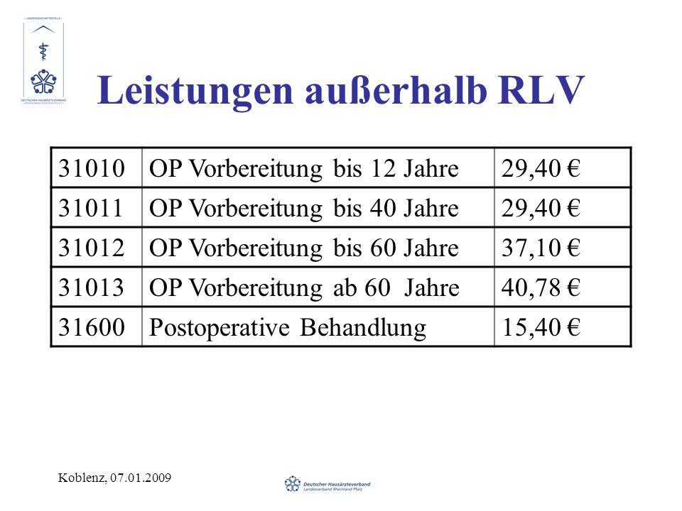 Koblenz, 07.01.2009 Leistungen außerhalb RLV 31010OP Vorbereitung bis 12 Jahre29,40 31011OP Vorbereitung bis 40 Jahre29,40 31012OP Vorbereitung bis 60