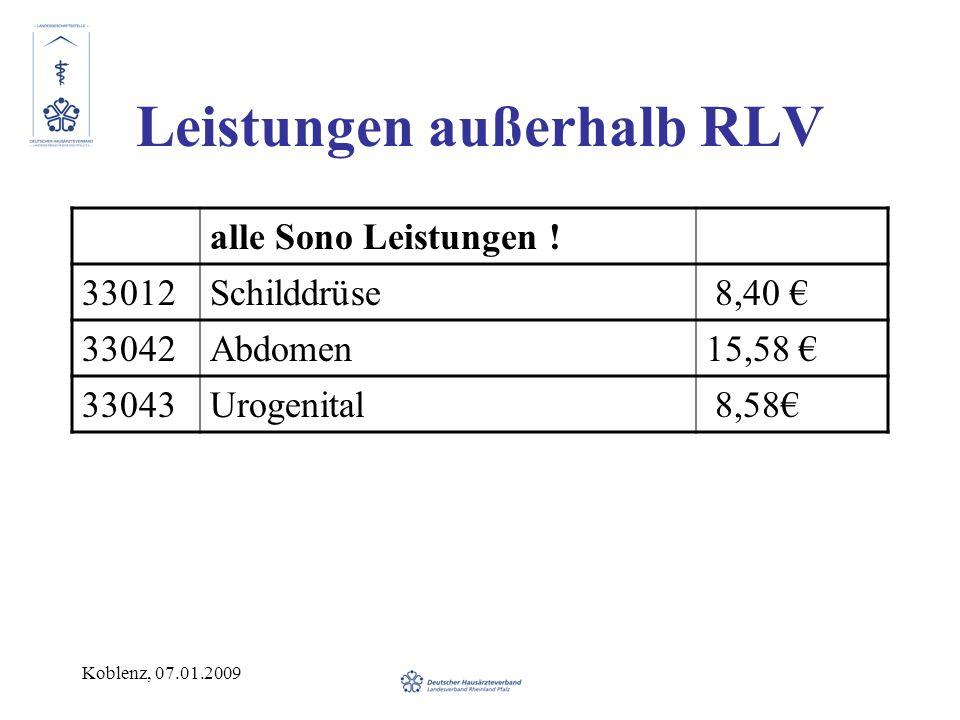 Koblenz, 07.01.2009 Leistungen außerhalb RLV alle Sono Leistungen ! 33012Schilddrüse 8,40 33042Abdomen15,58 33043Urogenital 8,58