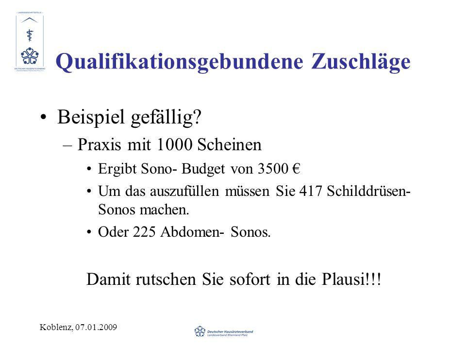 Koblenz, 07.01.2009 Qualifikationsgebundene Zuschläge Beispiel gefällig? –Praxis mit 1000 Scheinen Ergibt Sono- Budget von 3500 Um das auszufüllen müs