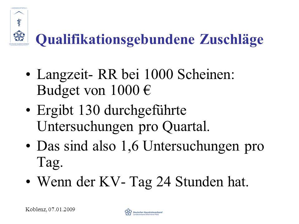 Koblenz, 07.01.2009 Qualifikationsgebundene Zuschläge Langzeit- RR bei 1000 Scheinen: Budget von 1000 Ergibt 130 durchgeführte Untersuchungen pro Quartal.