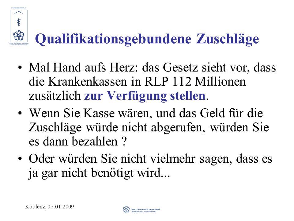 Koblenz, 07.01.2009 Qualifikationsgebundene Zuschläge Mal Hand aufs Herz: das Gesetz sieht vor, dass die Krankenkassen in RLP 112 Millionen zusätzlich