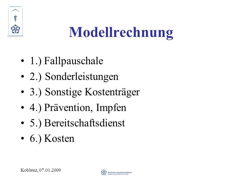 Koblenz, 07.01.2009 Modellrechnung 1.) Fallpauschale 2.)Sonderleistungen 3.)Sonstige Kostenträger 4.) Prävention, Impfen 5.) Bereitschaftsdienst 6.) Kosten