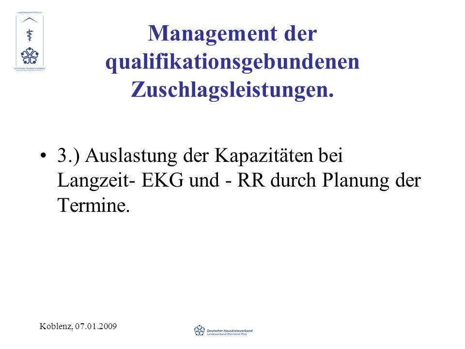 Koblenz, 07.01.2009 Management der qualifikationsgebundenen Zuschlagsleistungen. 3.) Auslastung der Kapazitäten bei Langzeit- EKG und - RR durch Planu
