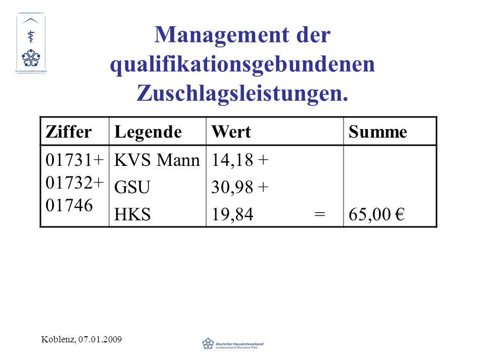 Koblenz, 07.01.2009 Management der qualifikationsgebundenen Zuschlagsleistungen. ZifferLegendeWertSumme 01731+ 01732+ 01746 KVS Mann GSU HKS 14,18 + 3