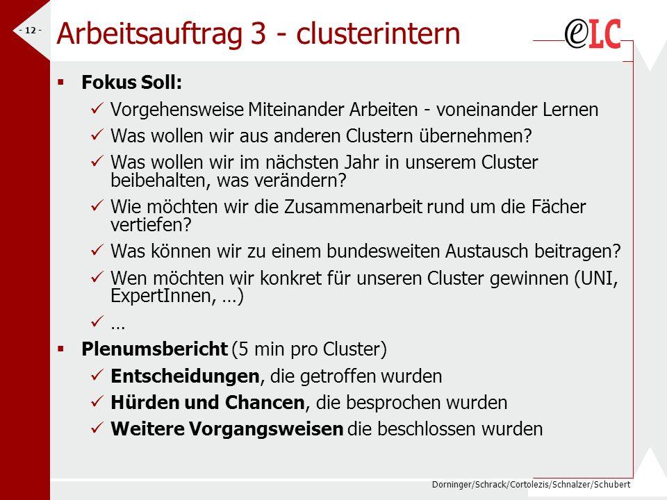 Dorninger/Schrack/Cortolezis/Schnalzer/Schubert - 12 - Arbeitsauftrag 3 - clusterintern Fokus Soll: Vorgehensweise Miteinander Arbeiten - voneinander Lernen Was wollen wir aus anderen Clustern übernehmen.