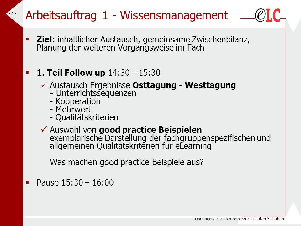Dorninger/Schrack/Cortolezis/Schnalzer/Schubert - 5 - Arbeitsauftrag 1 - Wissensmanagement Ziel: inhaltlicher Austausch, gemeinsame Zwischenbilanz, Planung der weiteren Vorgangsweise im Fach 1.