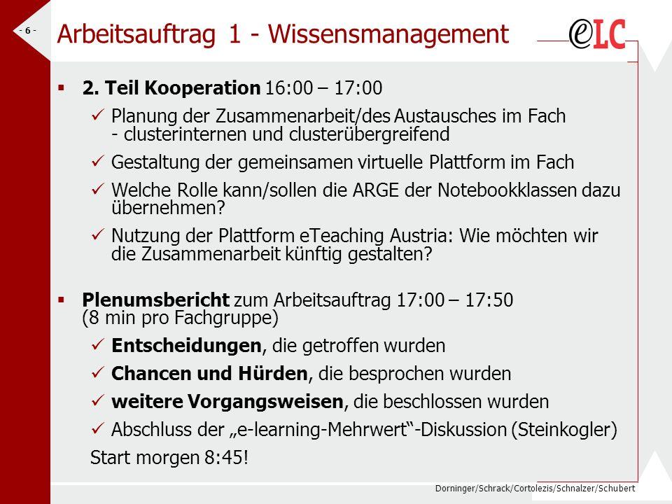Dorninger/Schrack/Cortolezis/Schnalzer/Schubert - 6 - Arbeitsauftrag 1 - Wissensmanagement 2.