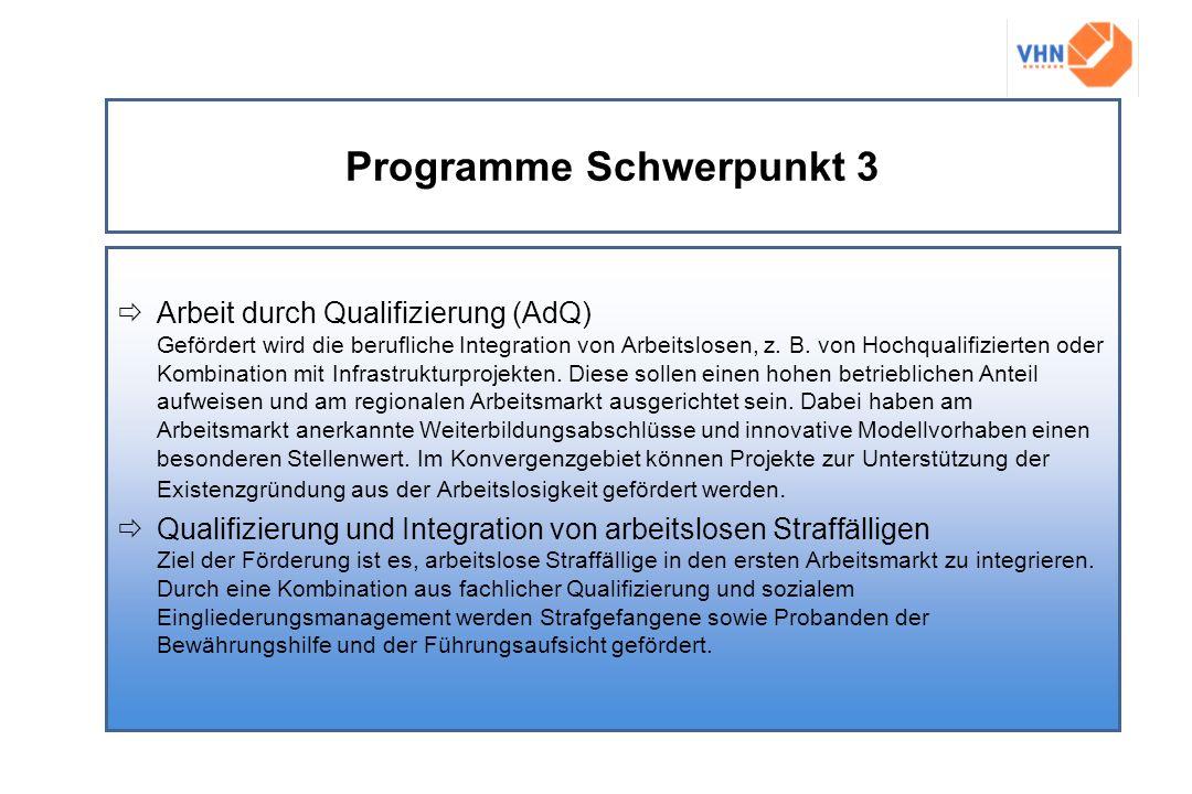 Programme Schwerpunkt 3 Arbeit durch Qualifizierung (AdQ) Gefördert wird die berufliche Integration von Arbeitslosen, z. B. von Hochqualifizierten ode