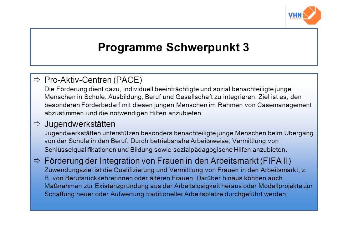 Programme Schwerpunkt 3 Pro-Aktiv-Centren (PACE) Die Förderung dient dazu, individuell beeinträchtigte und sozial benachteiligte junge Menschen in Sch