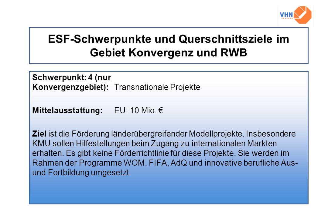 ESF-Schwerpunkte und Querschnittsziele im Gebiet Konvergenz und RWB Schwerpunkt: 4 (nur Konvergenzgebiet):Transnationale Projekte Mittelausstattung: E