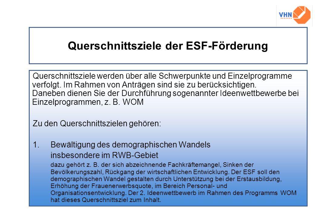 Querschnittsziele der ESF-Förderung Querschnittsziele werden über alle Schwerpunkte und Einzelprogramme verfolgt. Im Rahmen von Anträgen sind sie zu b