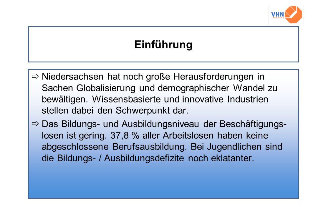 Einführung Niedersachsen hat noch große Herausforderungen in Sachen Globalisierung und demographischer Wandel zu bewältigen. Wissensbasierte und innov