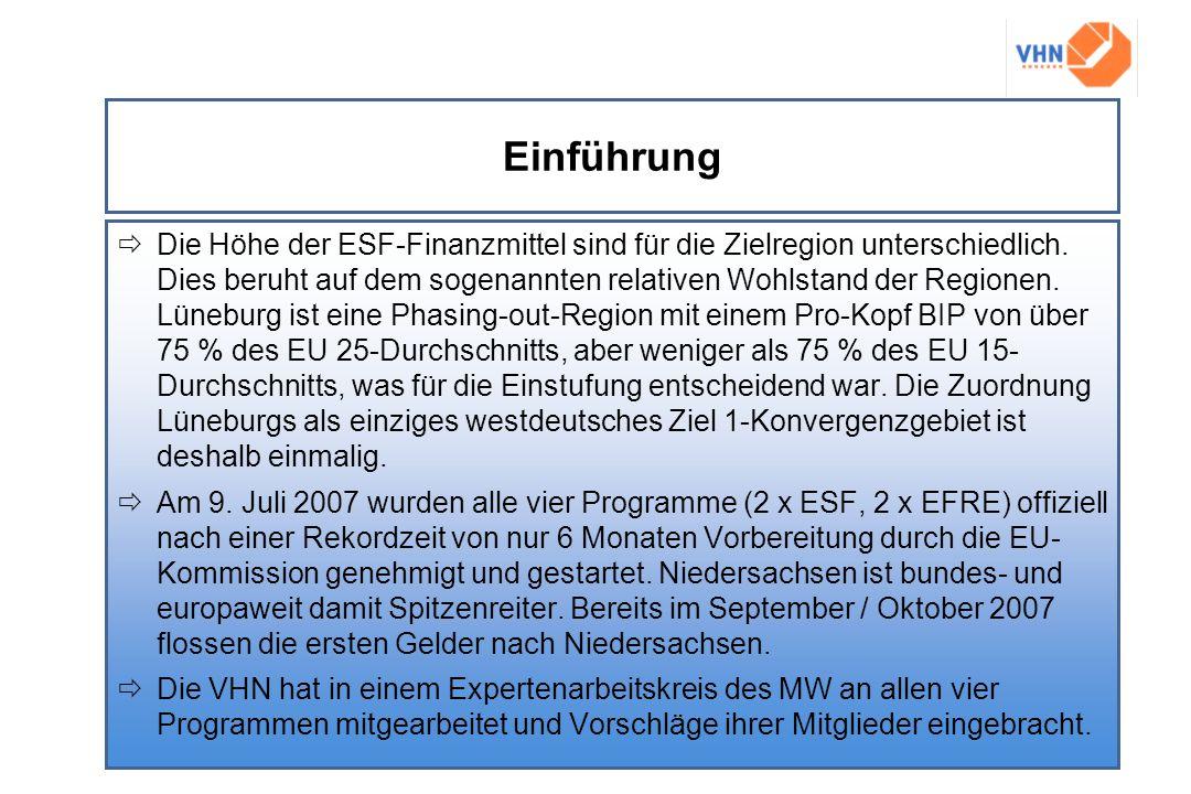 Einführung Die Höhe der ESF-Finanzmittel sind für die Zielregion unterschiedlich. Dies beruht auf dem sogenannten relativen Wohlstand der Regionen. Lü