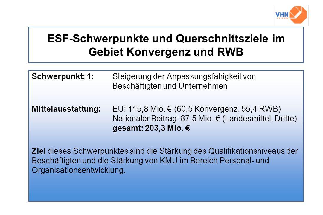 ESF-Schwerpunkte und Querschnittsziele im Gebiet Konvergenz und RWB Schwerpunkt: 1:Steigerung der Anpassungsfähigkeit von Beschäftigten und Unternehme