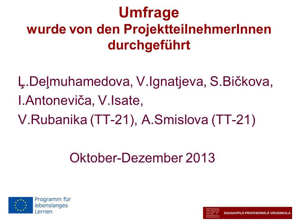 Umfrage wurde von den ProjektteilnehmerInnen durchgeführt Ļ.Deļmuhamedova, V.Ignatjeva, S.Bičkova, I.Antoneviča, V.Isate, V.Rubanika (TT-21), A.Smislo