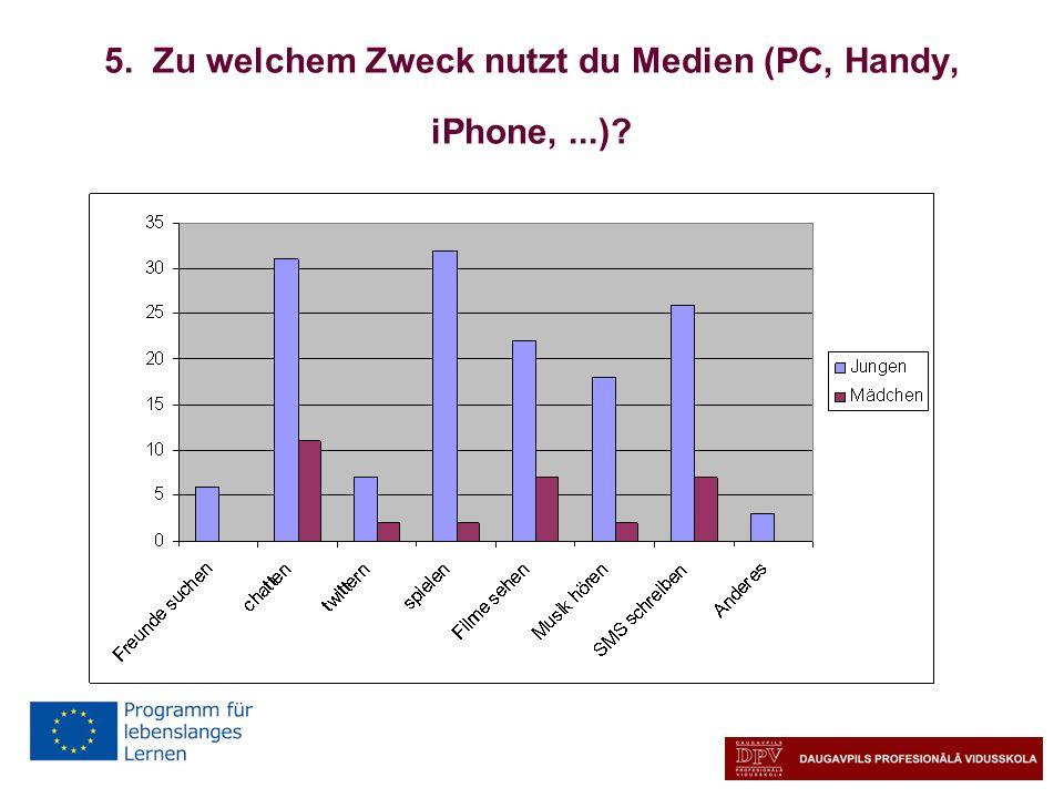 5. Zu welchem Zweck nutzt du Medien (PC, Handy, iPhone,...)?
