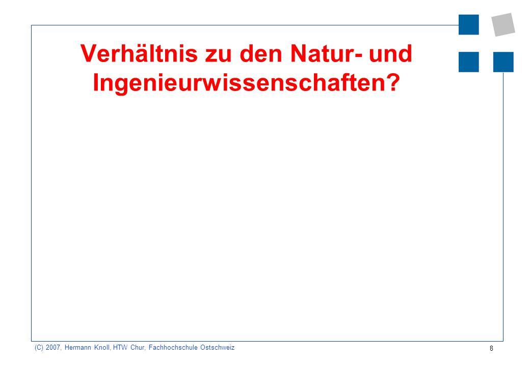 8 (C) 2007, Hermann Knoll, HTW Chur, Fachhochschule Ostschweiz Verhältnis zu den Natur- und Ingenieurwissenschaften
