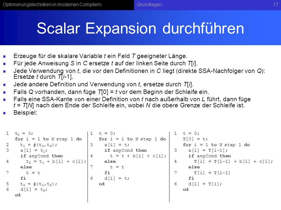 Optimierungstechniken in modernen CompilernGrundlagen17 Scalar Expansion durchführen Erzeuge für die skalare Variable t ein Feld T geeigneter Länge. F