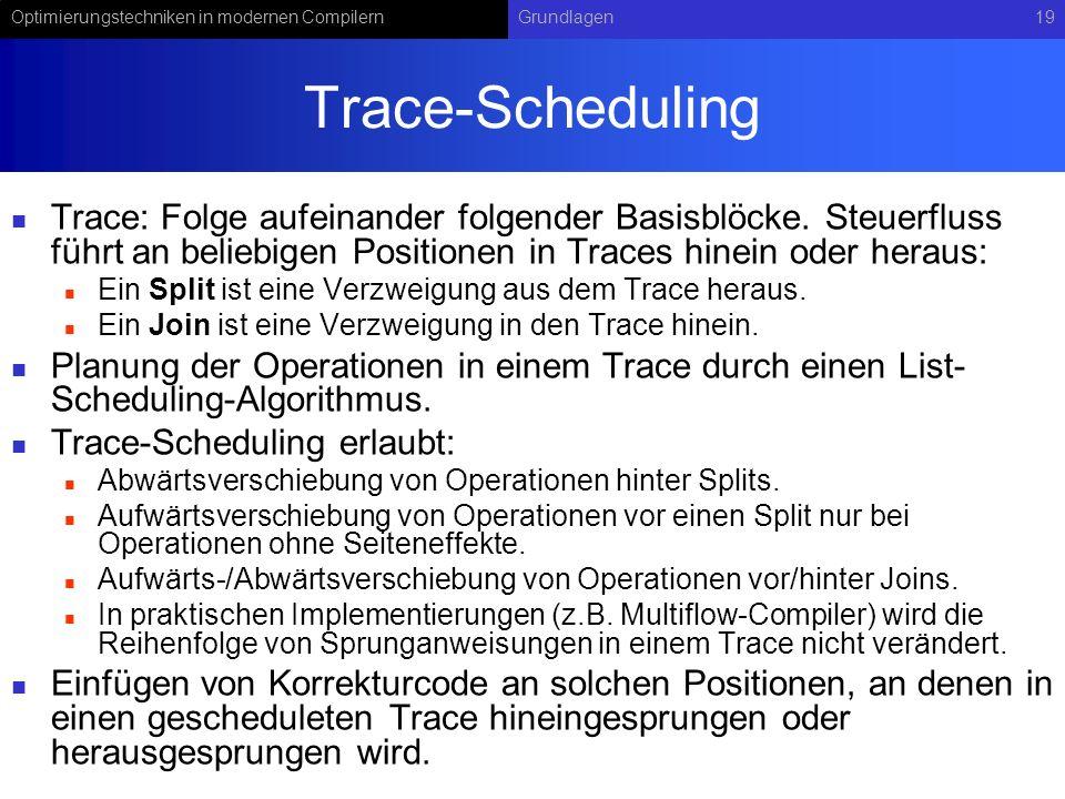Optimierungstechniken in modernen CompilernGrundlagen19 Trace-Scheduling Trace: Folge aufeinander folgender Basisblöcke. Steuerfluss führt an beliebig