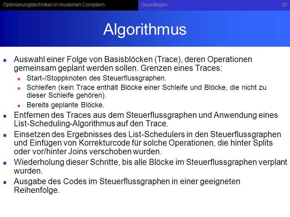 Optimierungstechniken in modernen CompilernGrundlagen20 Algorithmus Auswahl einer Folge von Basisblöcken (Trace), deren Operationen gemeinsam geplant