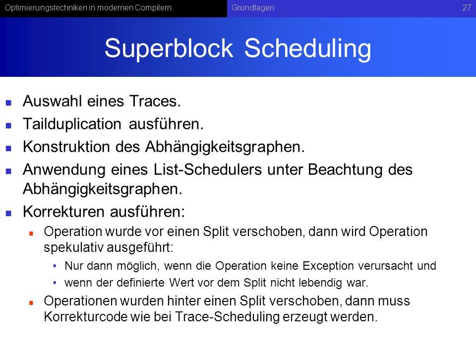 Optimierungstechniken in modernen CompilernGrundlagen27 Superblock Scheduling Auswahl eines Traces. Tailduplication ausführen. Konstruktion des Abhäng