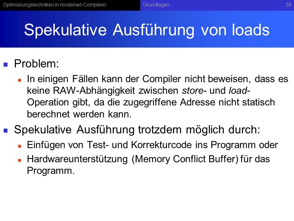 Optimierungstechniken in modernen CompilernGrundlagen29 Spekulative Ausführung von loads Problem: In einigen Fällen kann der Compiler nicht beweisen,