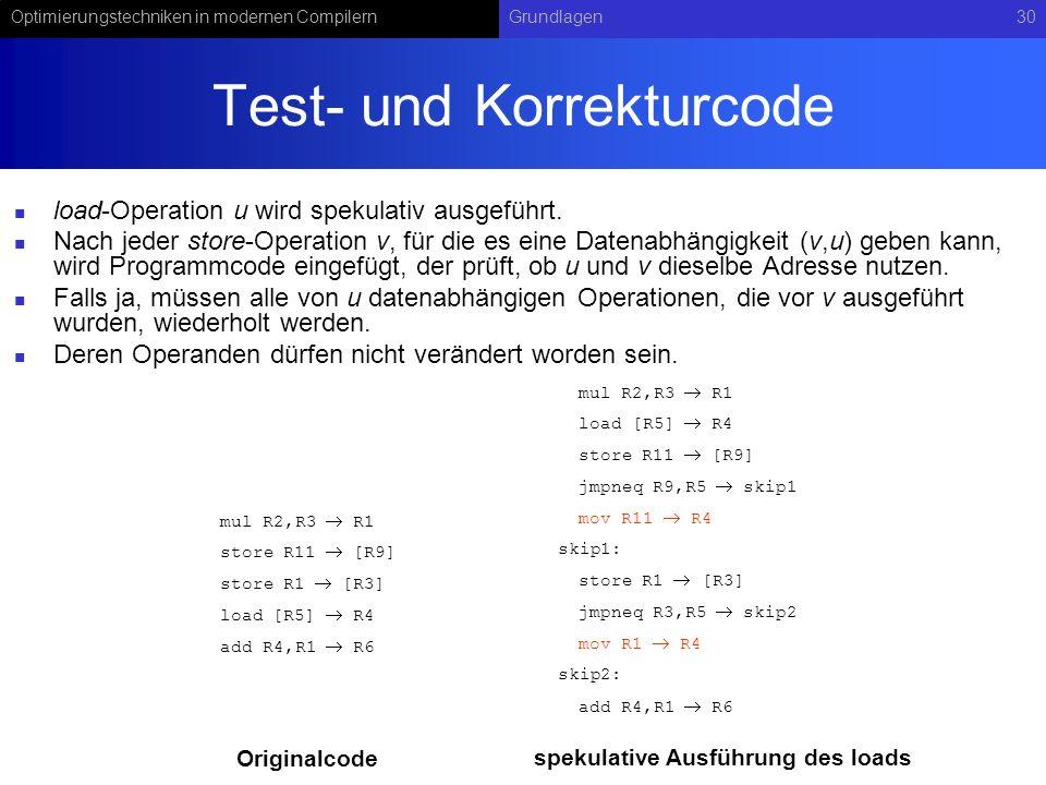 Optimierungstechniken in modernen CompilernGrundlagen30 Test- und Korrekturcode load-Operation u wird spekulativ ausgeführt. Nach jeder store-Operatio