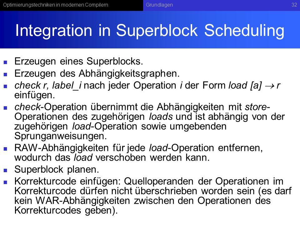 Optimierungstechniken in modernen CompilernGrundlagen32 Integration in Superblock Scheduling Erzeugen eines Superblocks. Erzeugen des Abhängigkeitsgra